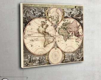 Vintage World Map canvas,ready to hang, 015