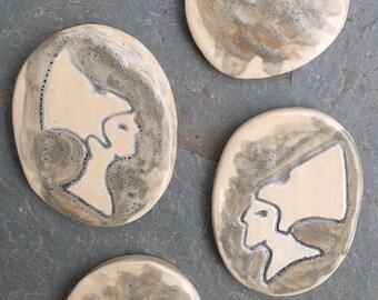 4 Egyptian Pharoah Akenaten Nefertit Ceramic Mosaic Tiles Supplies