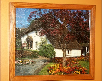 White Cottage Scene Vintage Jig Saw Puzzle Picture in Hand-Made Frame, Cottage Chic Decor, Wall Decor, Wall Hanging;
