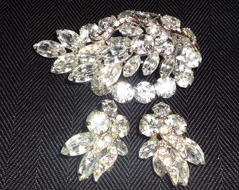 WEISS Rhinestone Brooch & Earring Set