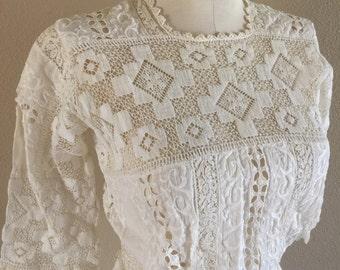 Edwardian White Lace Lawn Dress