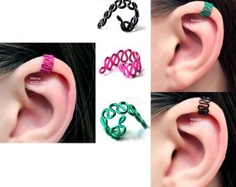 No Piercing Helix Ear Cuff Art Deco Waves/top upper ear clip/fake faux piercing/piercing imitation/ear jacket manchette/ohroberen knorpel