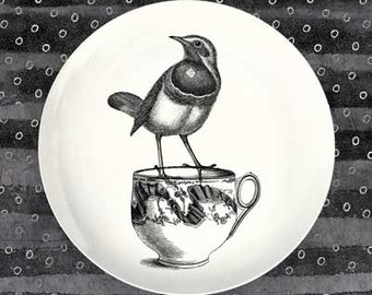 bird on a tea cup melamine plate