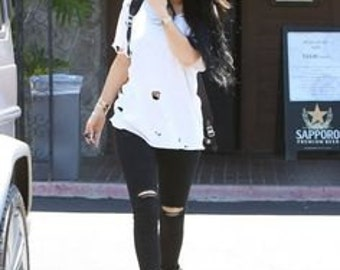 Get The Look Kylie Celebrity Style Jeans Sale Ripped Edgy Skinny Jeans  Cut Thigh Low Rise Waist Rocker Ripped Knee Grunge Black Wash Denim