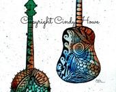 Banjo, Guitar, Set of 3 Greeting cards, bluegrass, blank inside, watercolor art, Zentangle art, musical instruments, acoustic,cards,