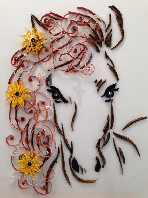 paper quilling horse and flowers framed art 11x14 by