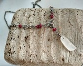 Genuine Sea Glass and Ruby Necklace
