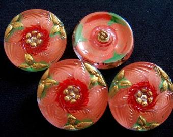 Czech  Glass Buttons 4 pcs    GORGEOUS  reverse painted   27mm     IVA 047