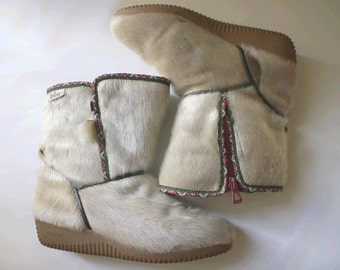 70s fur SNOW BOOTS made in france usw6 fr37