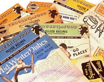 Vintage Culinary Ephemera - Thought for Food - WWII Recipes Collection - Kroger Food Foundation - 1940s Recipes - Mixed Media Supply