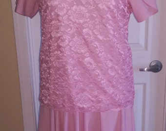 Pink Lady Blair Tea Length Dress, Full, drapey skirt with a Lace over bodice, tulip short sleeves, shoulder pads, polyester stretch material