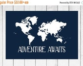 ONSALE World Map Custom Canvas Prints - Nursery and Home Decor Canvas - Choose Size and Colors