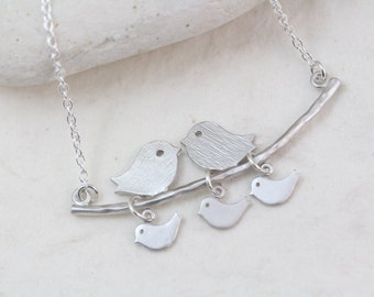 Silver Lovebird necklace, Choose baby birds - Cute Family up to 5 Kids Necklace . Bird Necklace . Mothers Day jewelry -  Anniversary gift
