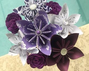 Purple Passion / Paper Flower Bouquet /Paper Bridal Bouquet, Kusudama, Origami Bouquet, Wedding Bouquet, Bridal Bouquet, paper bouquet