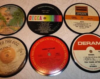Vinyl Record Album LP Drink  Coasters set of 6 mixed artists #A1
