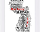 Instant Download Printable Digital File, New Jersey State Typography Print, Major Cities and Places, Black and White, Home Wall Office Decor