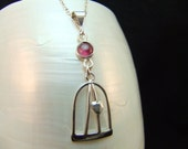 Handmade Raspberry Tourmaline Silver Necklace