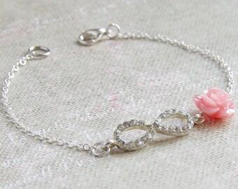 Silver Infinity Bracelet Rose Charm Chain Bracelet Bridesmaid Gift Friendship Jewelry