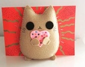 You are my heart cute cat handmade plush doll nude colour