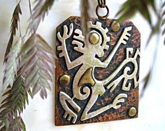 Mexico Aztec Figural Pendant, Primitive Creature Glyph, Metales Casados Art, Copper Brass Plaque