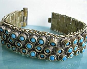 Persian Turquoise Tribal Bracelet, Hand Set Stones, Heavy Moroccan Ethnic Cuff, Dagger Pinstem Closure, Vintage Silver Bracelet