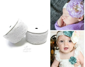 "White Lace Elastic - 1.5"" wide - 5 Yard Roll - Stretch lace trim for baby headbands, wedding garters, and more! DIY Craft Supplies"