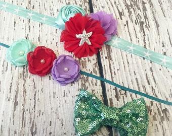 The Little Mermaid DIY Baby Headband Kit - Princess Ariel - Aqua, Lavender, Sea Green, Red - Birthday Party Outfits - Costume - Mermaid