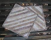 Batik Quilted Snack Mat Set - Mug Rug Pair - Candle Mat- Hot Pads in Tan and Beige