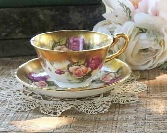 Royal Chelsea Golden Rose Tea Cup Set Fine English Bone China Elegant Tea Party Signed 3483A