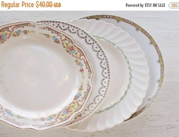On Sale Mismatched Dinner Plates Set Of 4 Tea By RosebudsOriginals