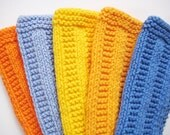 Soft Natural Dishcloths  Hand Knit  Sunny Bright Bundle  Wide Rib Yellow Blue Orange