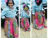 Girls dashiki maxi skirt and bow