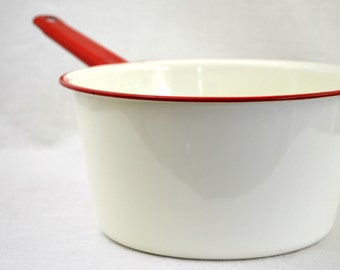 Enamelware  Large Saucepan - White with Red Handle and Trim