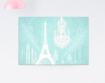 Chandelier print, Chandelier wall art, Eiffel Tower Print, Paris print, Paris wall decor, Home decor, Gift for her, Gifts under 25, Mint