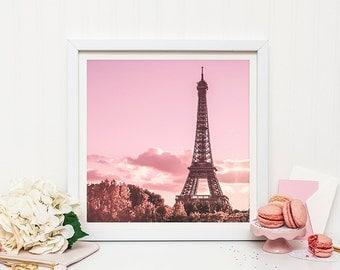 Paris Eiffel Tower photography print - Paris nursery decor - Pink Paris Print