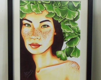 Memory 9x12 Print: Freckled Girl with Ginkgo Leaves