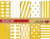 80% off Yellow DIGITAL Scrapbooking PAPER Gold backgrounds Hearts polka dots stripes Digital Download valentines paper kit 12/15
