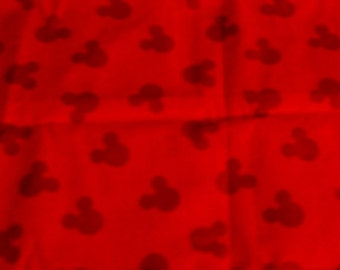 """Fabric Mickey Mouse Silhouette 1/2 yard x 43"""" wide cotton red"""