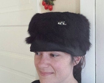 Vintage Black Fur Hat Womans Rhinestone Satin FREE SHIPPING