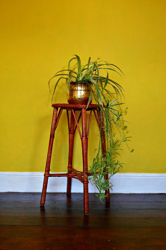 mid century raffia plant stand. Black Bedroom Furniture Sets. Home Design Ideas