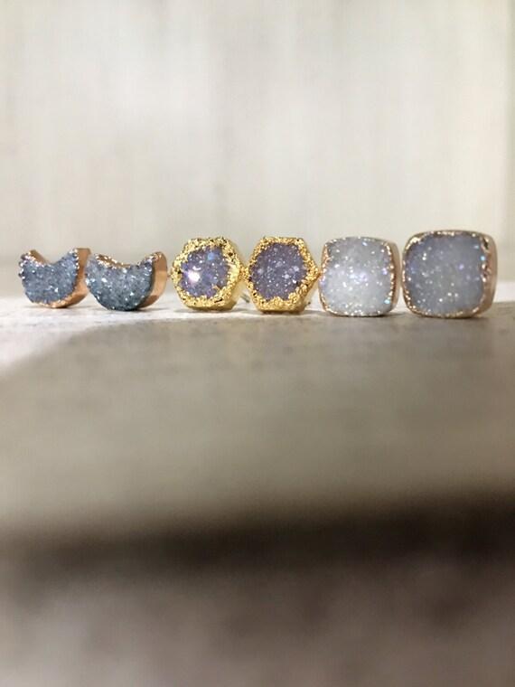 Druzy Earrings, moon, aunt gift, sister gift, best friend gift, Quartz jewelry