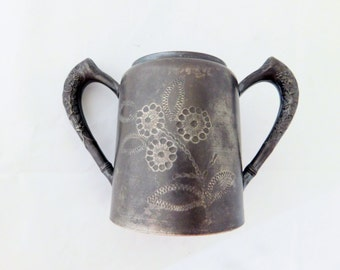 Antique, Sugar Pot, Triple Silver Plated, New Haven Sugar Pot 1800's, Silver Sugar Bowl