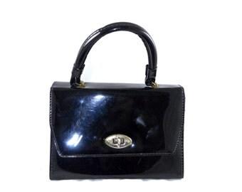 Black patent leather top handle / structured handbag, turnlock professional career bag - doctor bag