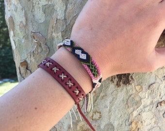 Brown and Pink Friendship Bracelet Set (014LE)