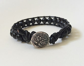 Tree of Life Wrap Bracelet black leather and  polished stone