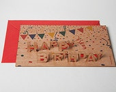 "3 pop up cards wood with envelope - ""Happy Birthday"" cards"