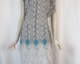 Bold braid graphics stretch silk sheath dress/ avant garde shape/ turquoise black and white: size US large