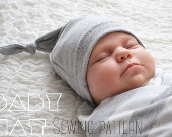 Baby hat pattern, for sewing. Knot style. In 3 sizes- 0-3months, 3-6 and 6-12+ (fits up to 3 years) With permission to sell finished items