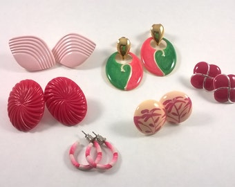 Vintage 1980s Fashion Earrings  - Pretty in Pink  - Lot Pierced Costume Jewelry -  6 Pairs Fashion 80s