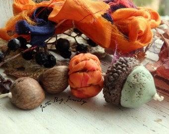 Patina Acorn Totem- polymer clay beads. patina acorn real cap. dark orange pumpkin bead. sari silk. woodland rustic pendant. Jettabugjewelry